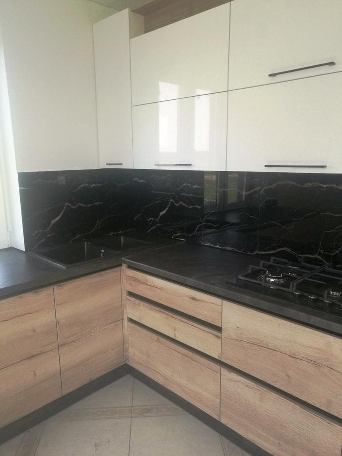 Белый кухонный гарнитур-Кухня из акрила «Модель 386»-фото3