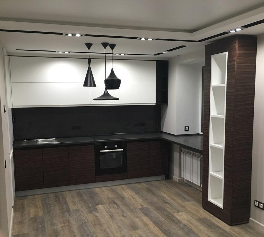 Встроенная кухня-Кухня МДФ в эмали «Модель 457»-фото1