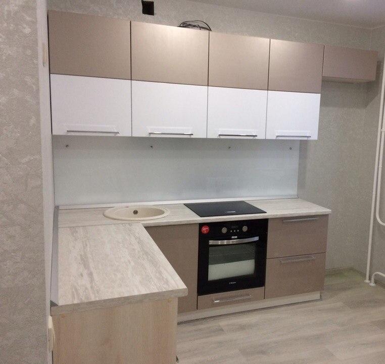 Бежевые кухни-Кухня из пластика «Модель 454»-фото1