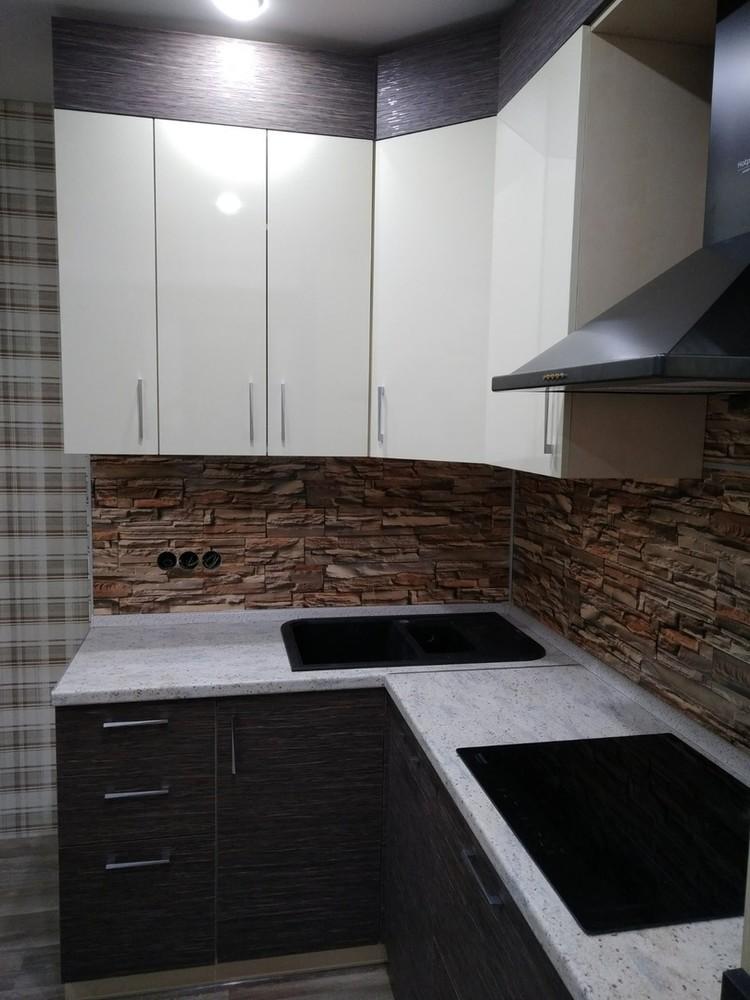 Белый кухонный гарнитур-Кухня МДФ в ПВХ «Модель 523»-фото2