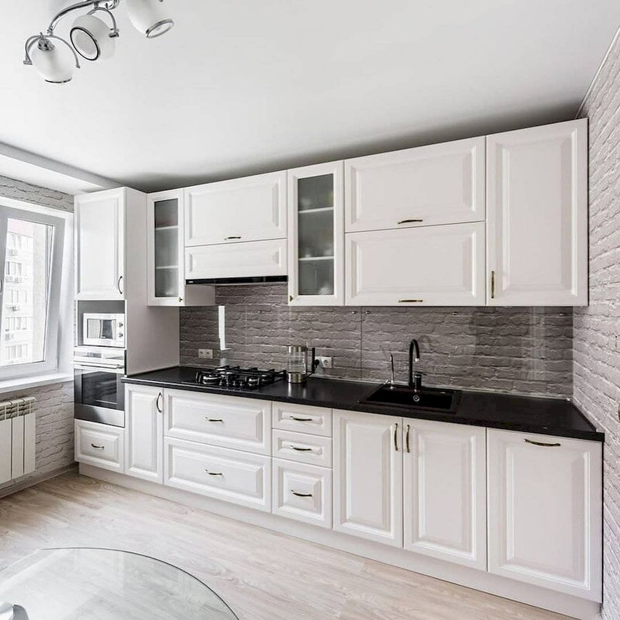 Белый кухонный гарнитур-Кухня МДФ в эмали «Модель 641»-фото1