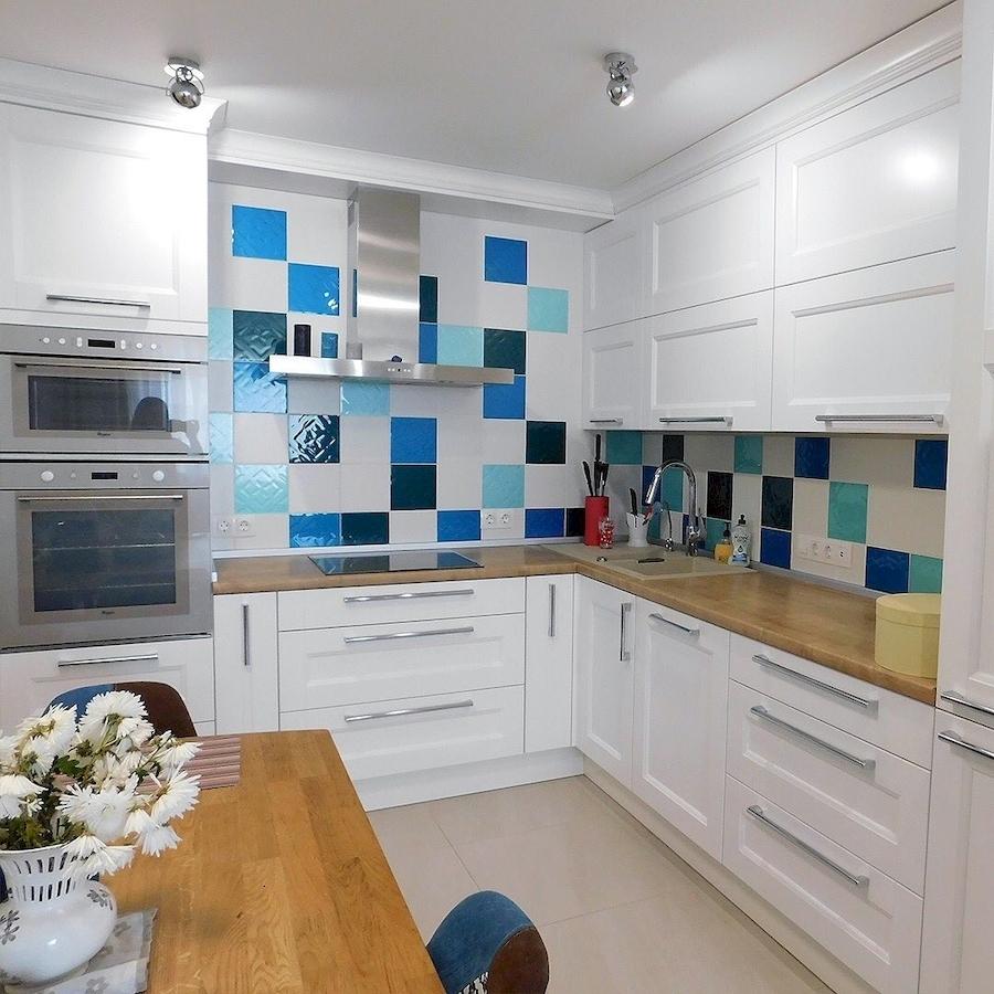 Белый кухонный гарнитур-Кухня МДФ в эмали «Модель 591»-фото2