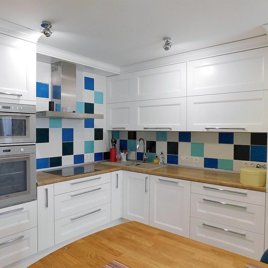 Белый кухонный гарнитур-Кухня МДФ в эмали «Модель 591»-фото1