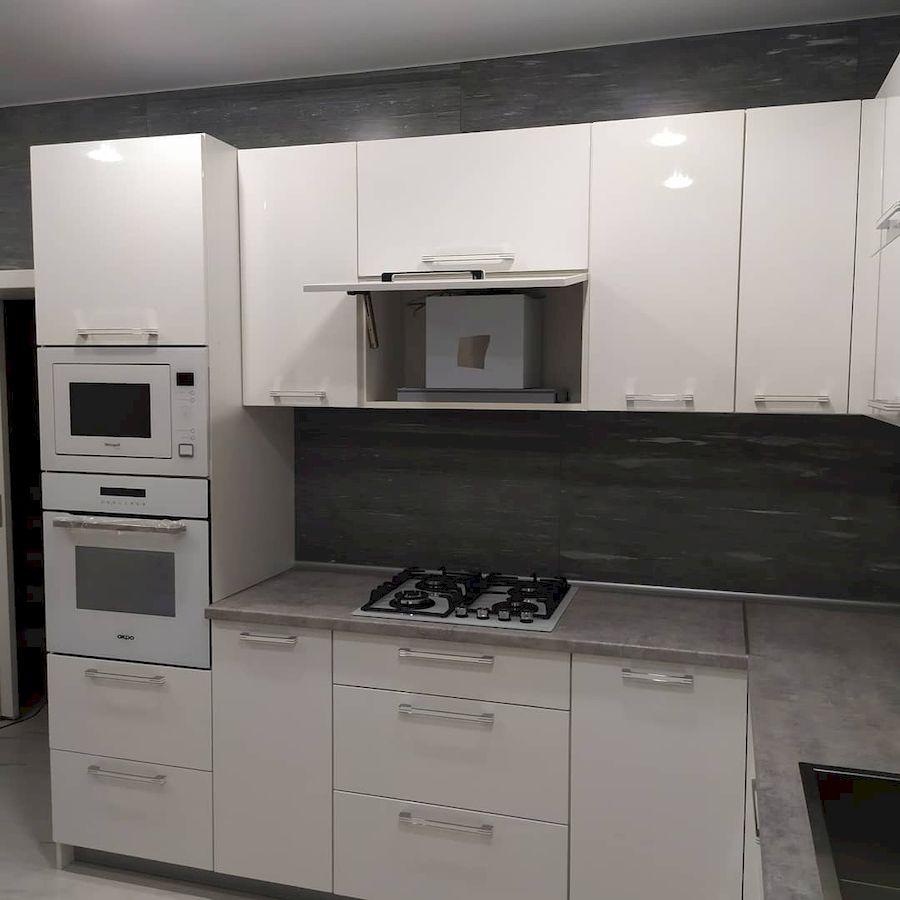 Белый кухонный гарнитур-Кухня МДФ в ПВХ «Модель 669»-фото4