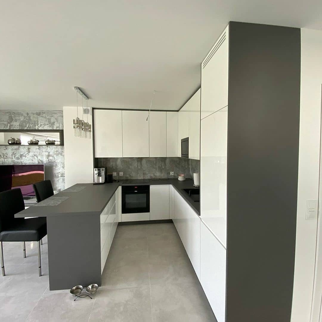 Белый кухонный гарнитур-Кухня МДФ в эмали «Модель 627»-фото2