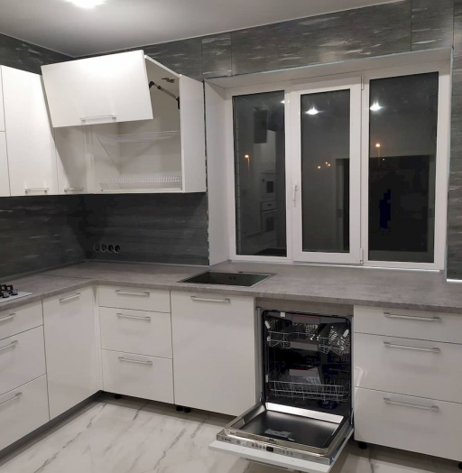 Белый кухонный гарнитур-Кухня МДФ в ПВХ «Модель 669»-фото7